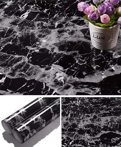Yancorp Black Granite Wallpaper Marble Counter Top Film Vinyl Self