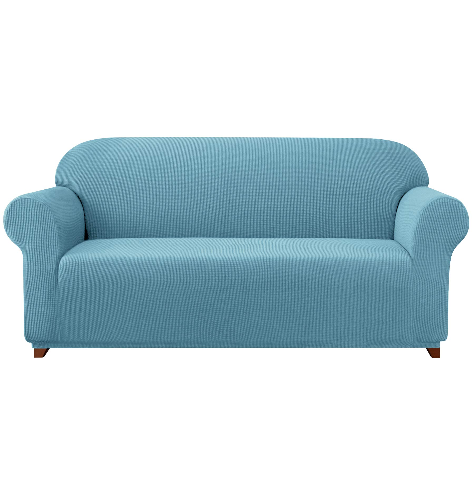 subrtex 1-Piece Stretch Sofa Cover Spandex Jacquard Fabric Slipcovers for Couch, Armchair, Anti-Slip Furniture Protector (Sofa, Light Blue)