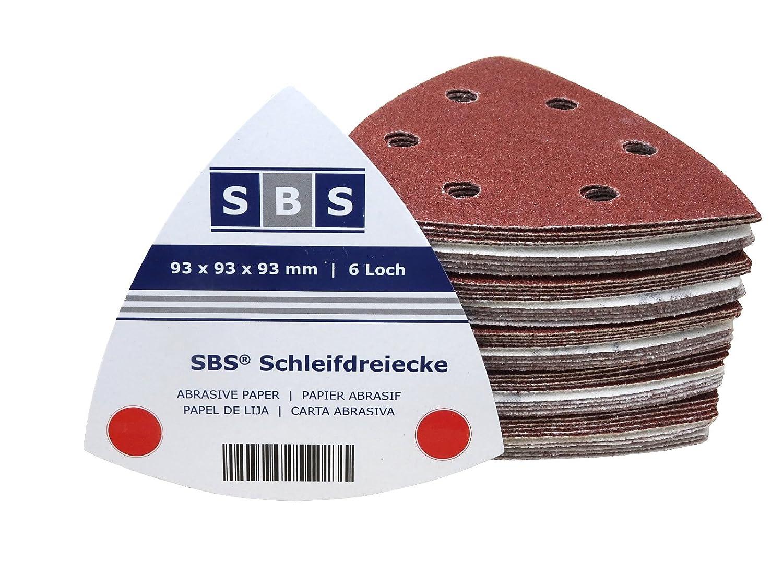 200 Stück Klett-Schleifdreiecke 93x93x93 mm Korn 240 für Delta-Schleifer 6-Loch