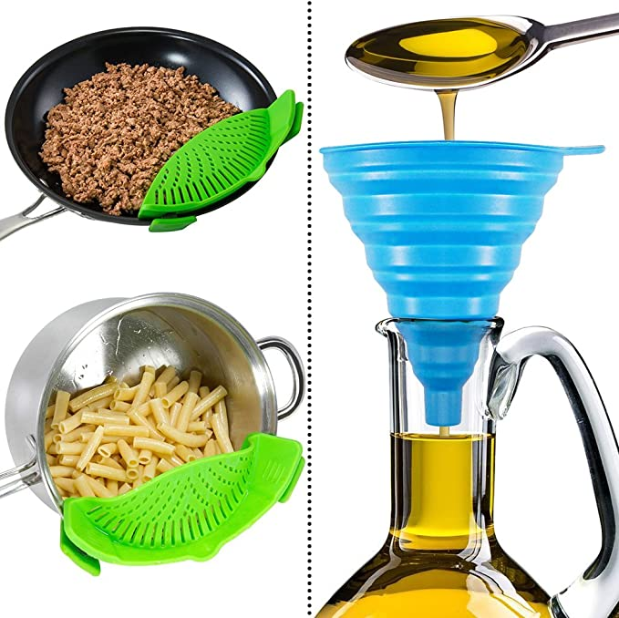 FineGood Hands-free Clip-on Heat Resistant Colander Pour Spout for Pasta Vegetable Noodles Pot bowl Pan Silicone Snap Strainer with 2 Collapsible Funnels Red