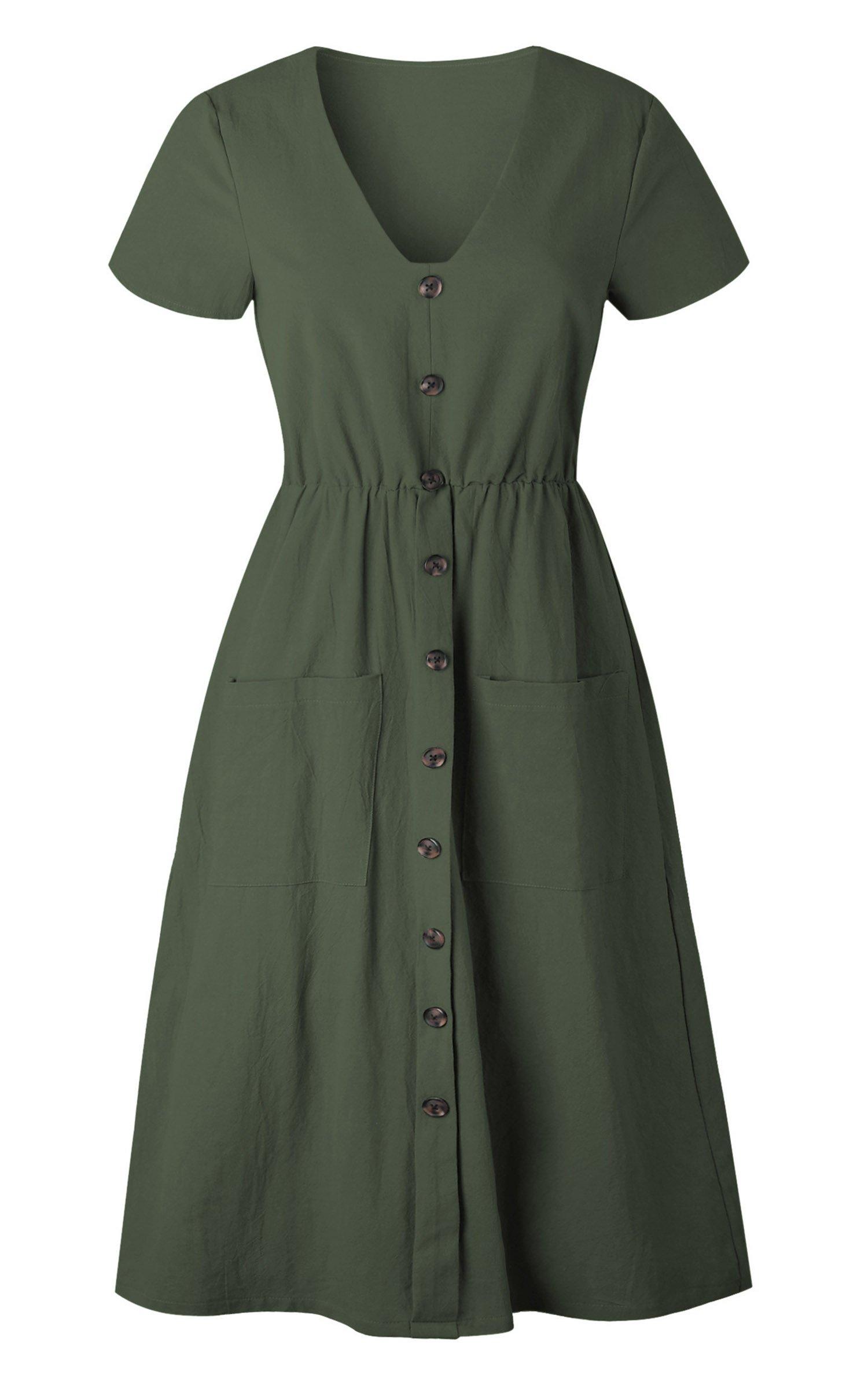 Angashion Women's Dresses-Short Sleeve V Neck Button T Shirt Midi Skater Dress with Pockets by Angashion (Image #5)