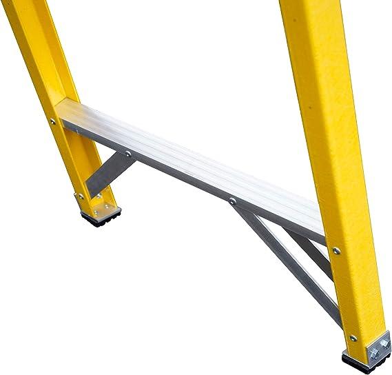 Laddres-Online - Escalera de mano para electricistas (fibra de vidrio, peldaños no conductores, EN131, incluye meseta para las herramientas): Amazon.es: Bricolaje y herramientas