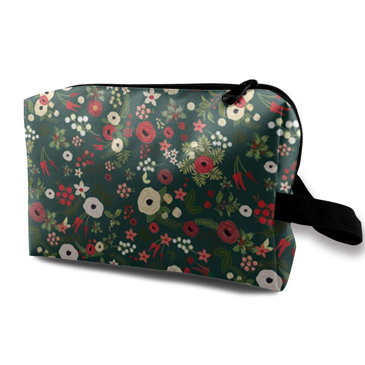 d17af1799825 Amazon.com: Vintage Christmas Floral Toiletry Bag Multifunction ...