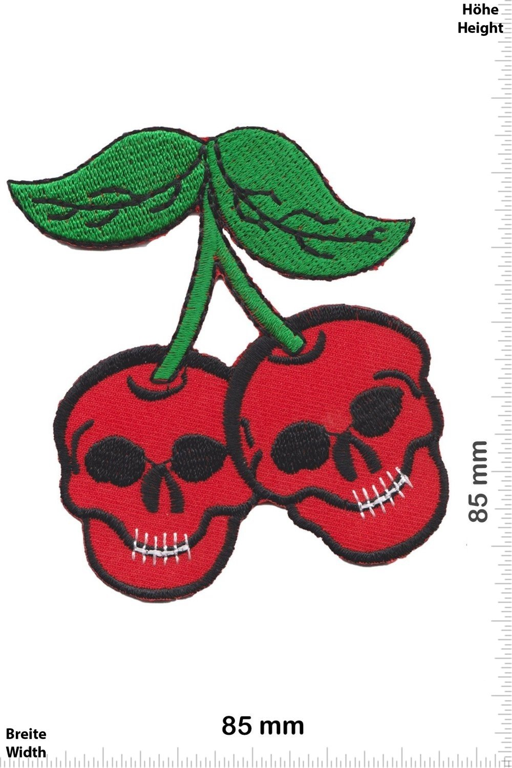 Patches - Skull Cherry - Oldschool - Rockabilly - Tatoo - Old School Punk Rocks- Vest - Iron on Patch - Applique embroidery Écusson brodé Costume Cadeau- Give Away