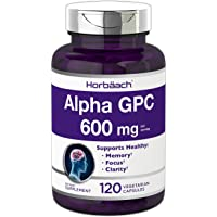 Alpha GPC 600mg   120 Capsules   Vegetarian, Non-GMO & Gluten Free Choline Supplement   Supports Healthy Memory, Focus…