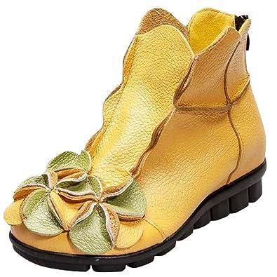 MatchLife Damen Vintage Leder Stiefel Blumen Kurze Boots Style1 Schwarz EU34/CH35 UTzXKrTFw
