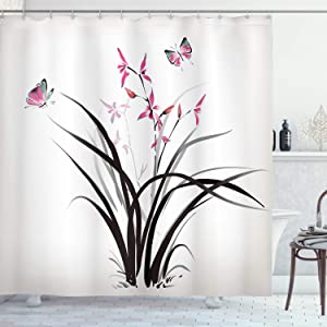 Ambesonne Butterfly Shower Curtain, Chinese Orchid and Butterfly Exotic Wild Mysterious Ink Style Print Home, Cloth Fabric Bathroom Decor Set with Hooks, 75