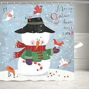 Christmas Snowman Shower Curtain, Winter Holiday Merry Christmas Happy Snowman New Year Decor Shower Curtain for Bathroom, Washable Durable Polyester Fabric Bathroom Decor, 69X70IN