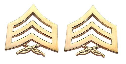 Amazon.com: 1 par (2) US Marine Corp Rank E5 SGT oro militar ...