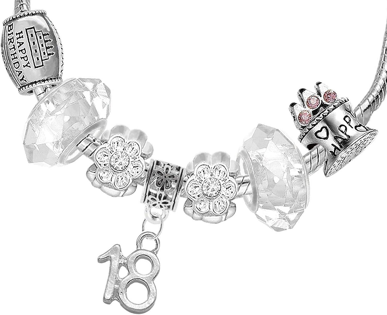 Gnoce Charm de Tulipe en Argent Sterling 925Amour Parfait Charm Perle avec CZs Compatible avec Bracelets et Colliers Cadeau pour Femme