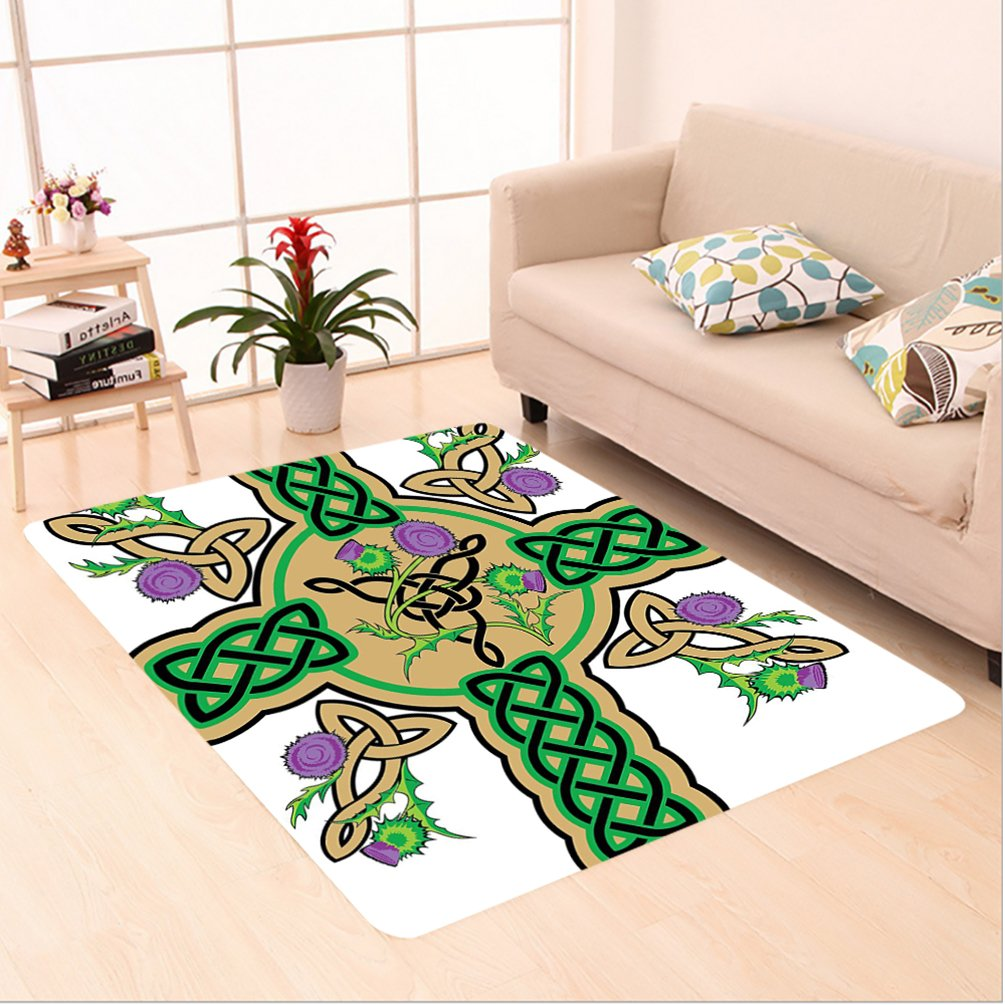 Nalahome Custom carpet ltic Knot Design on Christian Cross Icon Wreath Flowers Retro Floral Welsh Pattern Mustard Green area rugs for Living Dining Room Bedroom Hallway Office Carpet (5' X 7') by Nalahome