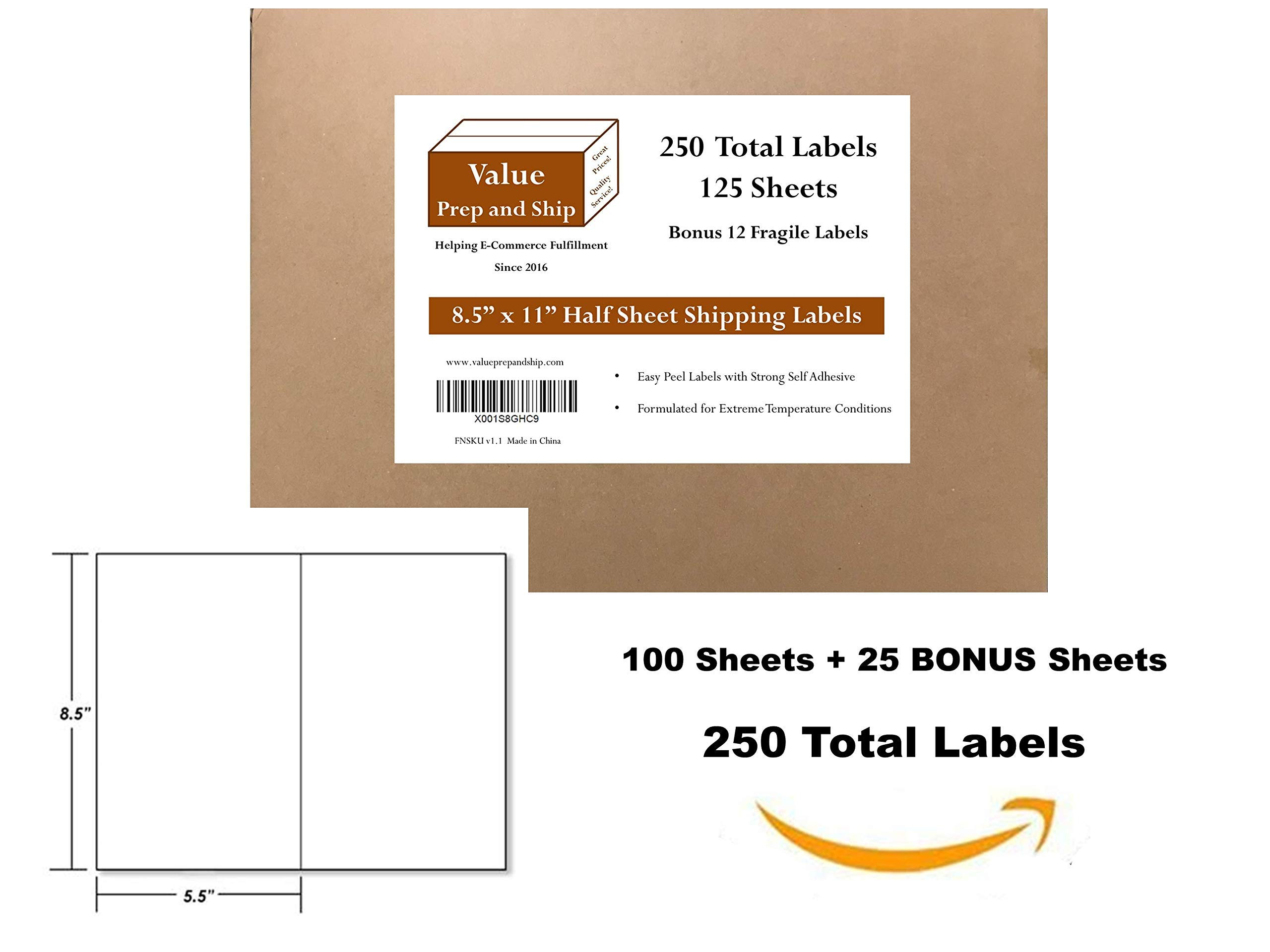 Half Sheet Shipping Labels, 250 Labels, 125 Sheets, 8.5'' x 11'' with 2 Mailing Labels per Sheet, Self-Adhesive Permanent Glue