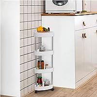 LC&TEAM Hoekplank, keukenrek, staand badkamerrek, smalle rolwagen, klein staand rek, wit, nisrek, badkamer, doucheplank…