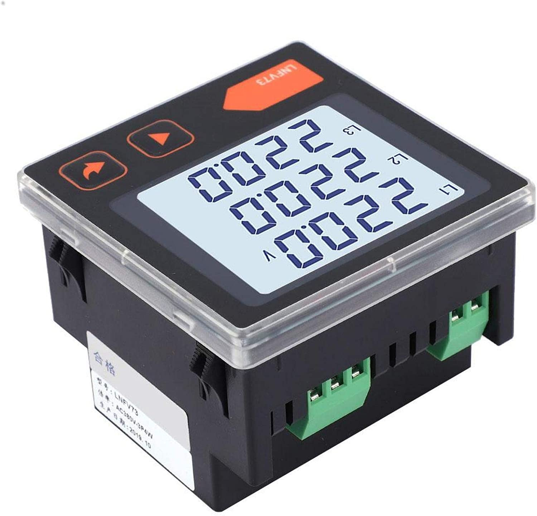 Jeanoko Voltímetro trifásico Pantalla LCD Digital Medidor de Voltaje Inteligente Medidor de Corriente automática para el hogar para el Sistema de distribución de energía(LNFV73)