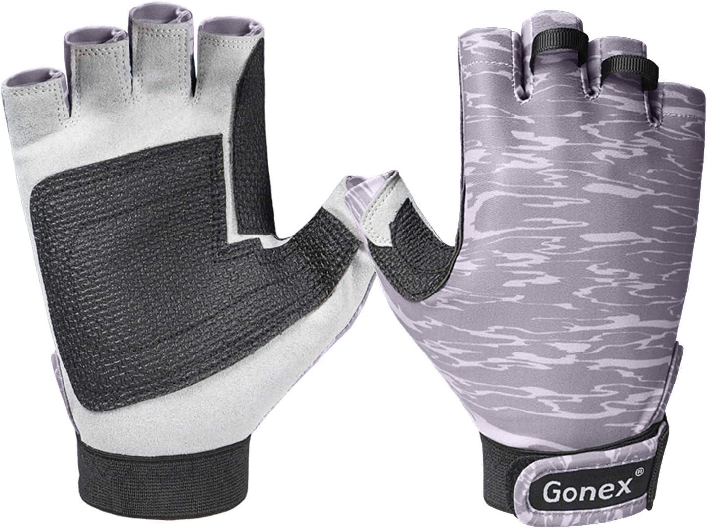 kayak protecci/ón solar UPF 50+ palma Guantes de pesca Gonex guantes sin dedos para hombres y mujeres palma palma de PVC