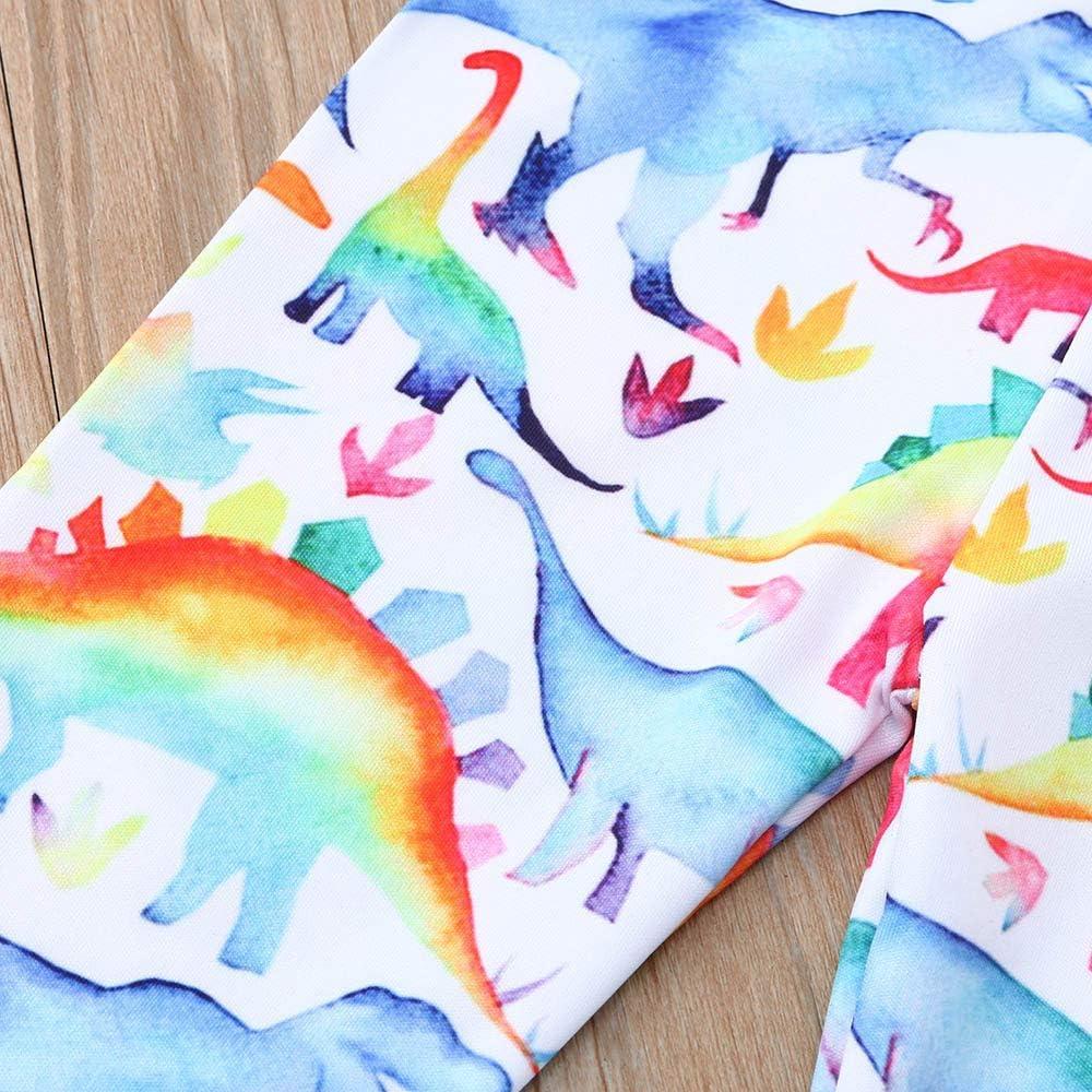2PC Headbands Set Toddler Infant Baby Girls Letter Print Cartoon Dinosaur Romper+1PC Pants ZOMUSAR Newest Arrivals