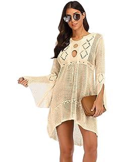 1e10e7e22a shermie Womens Crochet Beach Cover Ups Long Sleeves Swimwear Cover Up Dress