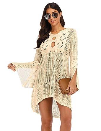 Blouses & Shirts Active Summer Women Bikini Cover Up Sarong Cardigan Dress Kaftan Lace Crochet Sheer Beach Wear Long Blouse Casual Loose Long Sleeve