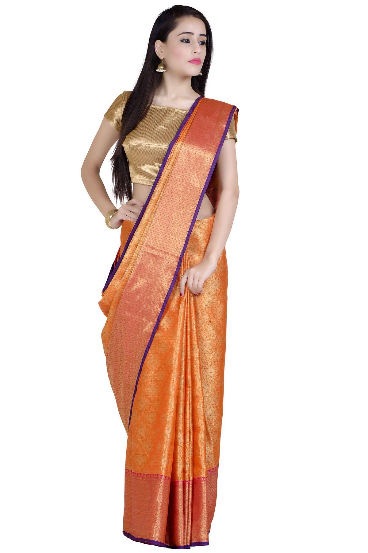 Chandrakala Women's Banarasi Cotton Silk Saree (Orange-1)