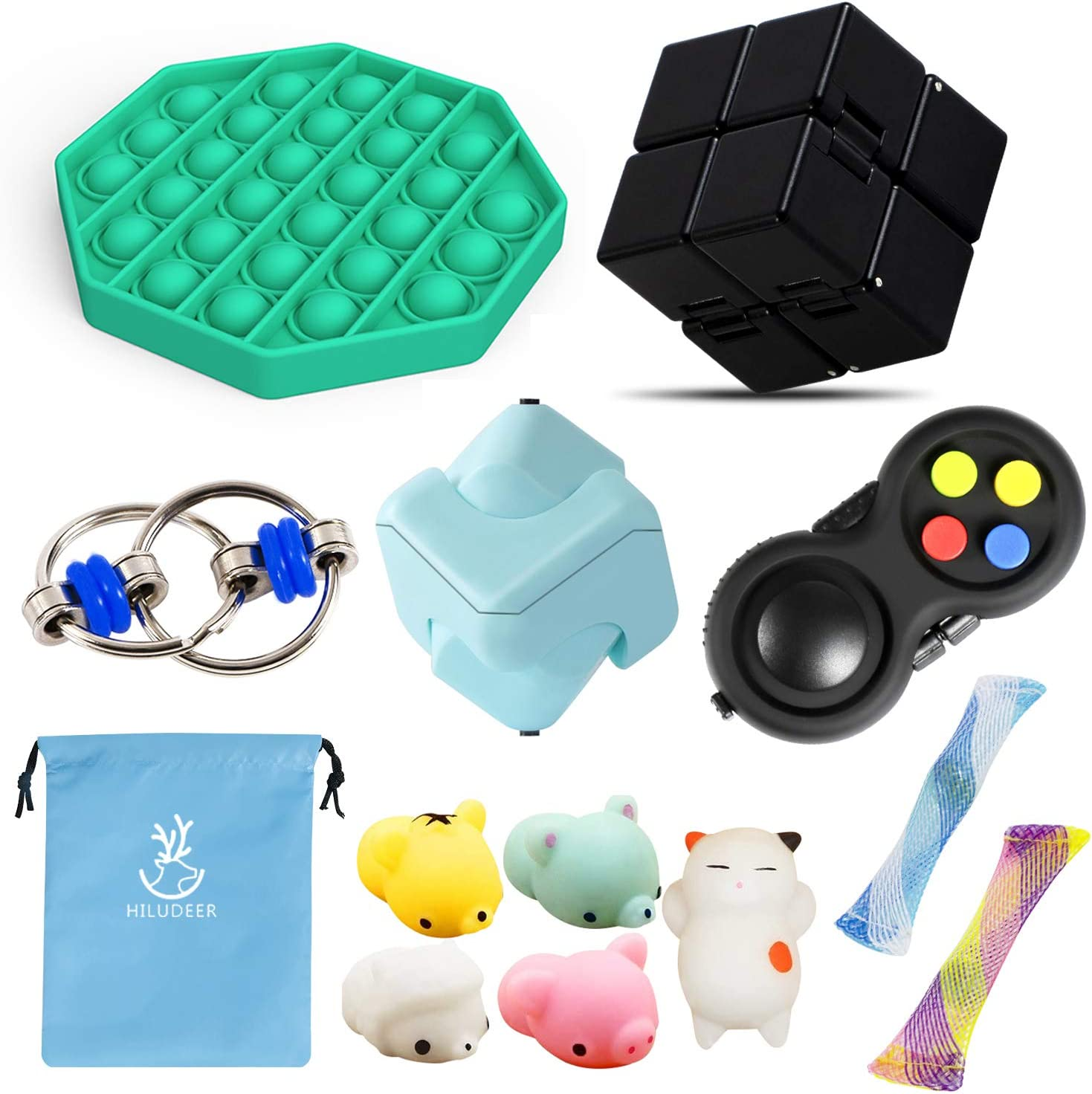 HILUDEER Fidget Toy Set 12pcs Pack , Stress and Anxiety Relief Toys Bundle for Kids and Adults, Include Bubble Popping It/Fidget Pad/Infinity Cube/Cube Spinner/Flippy Chain/Mochi Squishy (Green-pop)