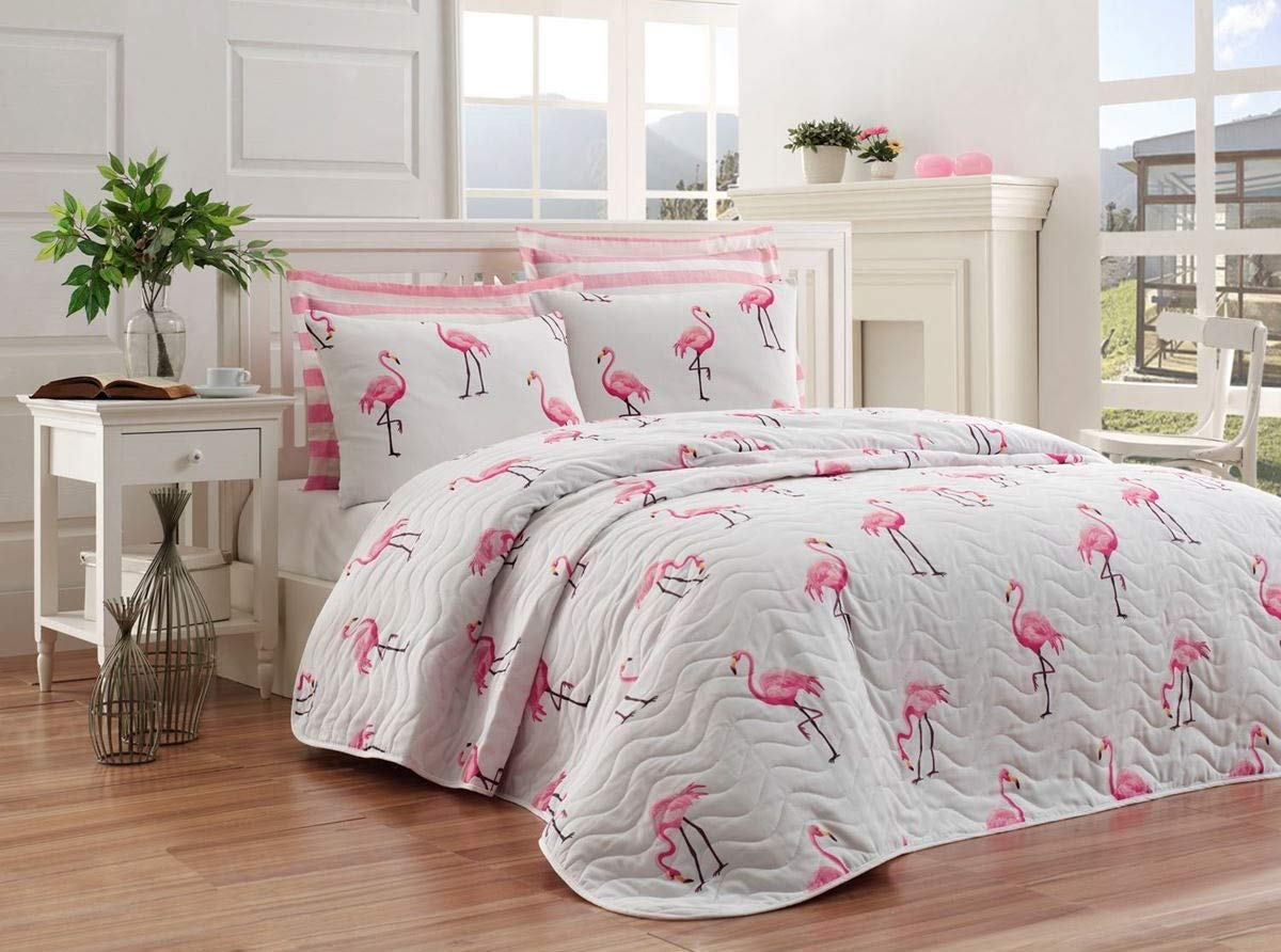 OZINCI Birds Bedding, Flamingo Birds Themed Full/Queen Size Bedspread/Coverlet Set, Girls Bedding, 3 Pieces, Pink by OZINCI