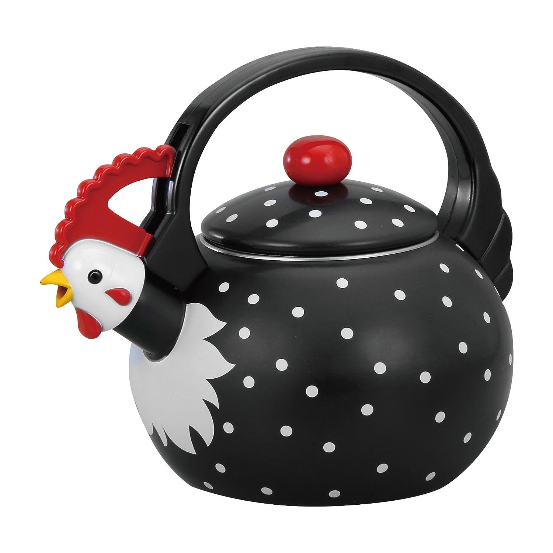 Supreme Housewares 71503 Rooster Whistling Kettle 2 quarts black