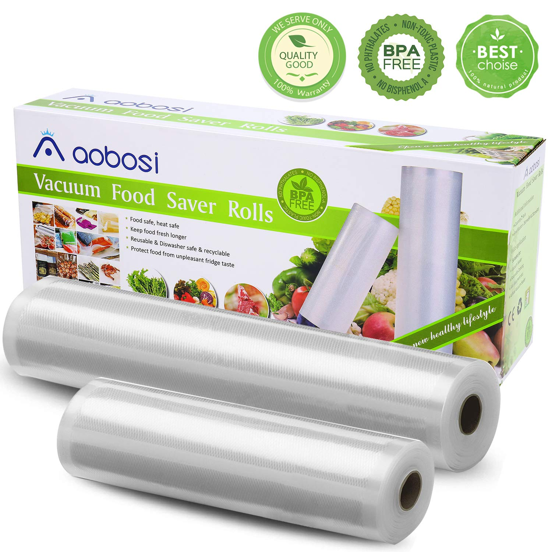 Aobosi Vacuum Sealer Bags Vacuum Food Sealer Rolls Foodsaver BPA Free & LFGB Approved Food Storage Bags 2 Pack Roll 20cm X 6m and 28cm X 6m, for Sous Vide Cooker and All Vaccum Food Sealer Machines