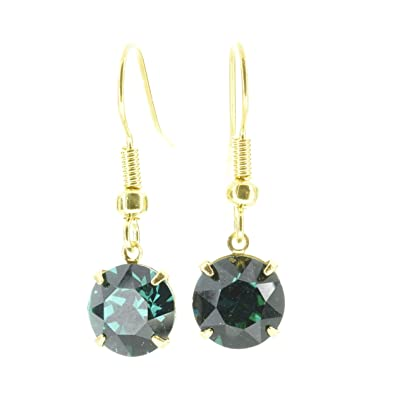 1d83c354257f pewterhooter 18ct Gold plated drop earrings made with sparkling Emerald  green crystal from SWAROVSKI®. London box.  Amazon.co.uk  Jewellery
