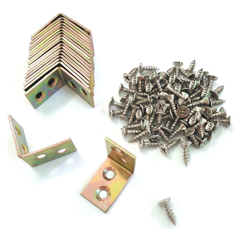 ALLNICE 20PCS 25x25x16mm 90 Degree Metal Right Angle Bracket Shelf Support with 80PCS Screws