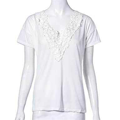 spyman Summer Women Blouse Short Sleeve Tops Shirt Sexy Lace V Neck Blouse Shirt Female Blusas