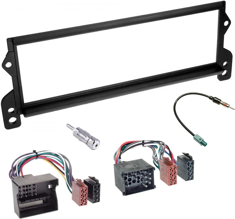 Sound-way Kit Montaje Autoradio, Marco 1 DIN Radio para Coche, Cable Adaptador Conector ISO, Adaptador Antena, Compatible con Mini Cooper 2000-2006