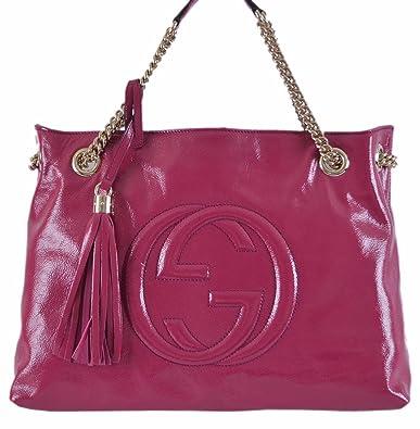 2ec0d3a0e14 Amazon.com  Gucci Women s Pink Patent Leather Chain Strap Soho Purse  Shoes
