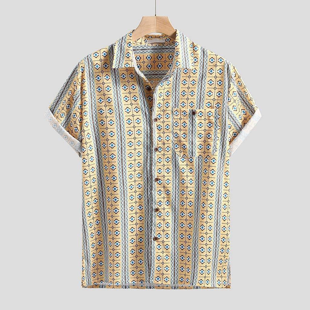 XL Vintage Men/'s 80/'s Plaid Shirt Button Down Short Sleeve