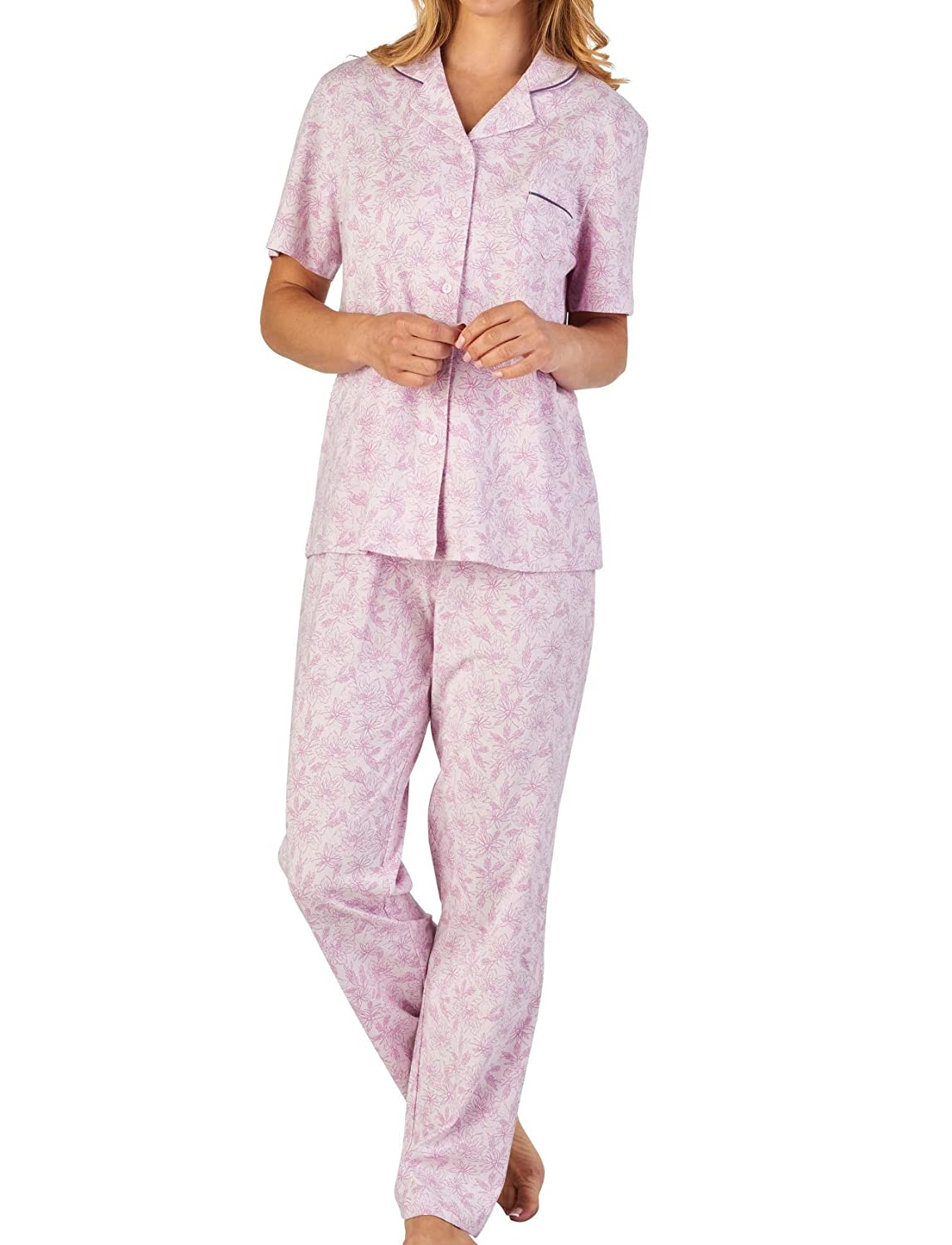 Slenderella Ladies Floral Meadow Pyjamas Jersey Cotton Button Up Top   PJ  Bottoms (3 Colours)  Amazon.co.uk  Clothing 6babf6f2b