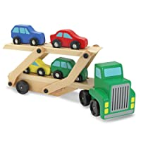 Deals on Melissa & Doug Car Carrier Truck & Cars Wooden Toy Set