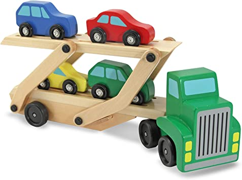 Melissa Doug Car Carrier Truck Cars Wooden Toy Set Compatible With Wooden Train Tracks Quality Wood Construction Great Gift For Girls And Boys