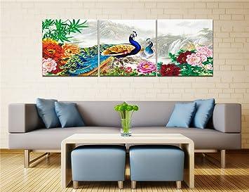 Chinesische Landschaft,Pfingstrose,Pfau,Bambus,Grün,Blau,Rosa_Ölmalerei  Bild Druck