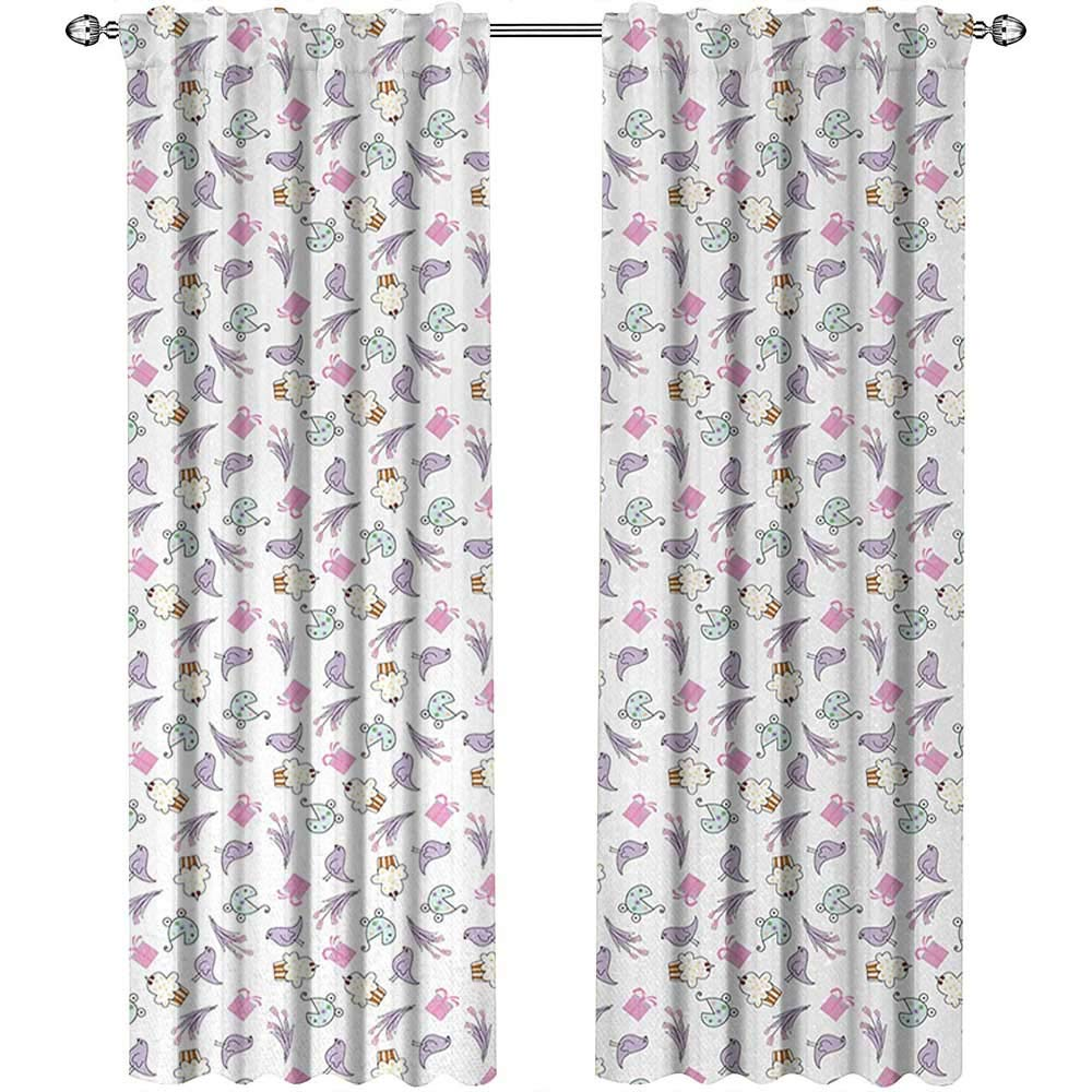 Returiy Birthday, Blackout Curtains Kids, Sketch Art Style Birds Cupcakes Baby Carriages and Tulip Flowers Newborn Theme, Curtains for Kitchen, W108 x L96 Inch, Multicolor by Returiy