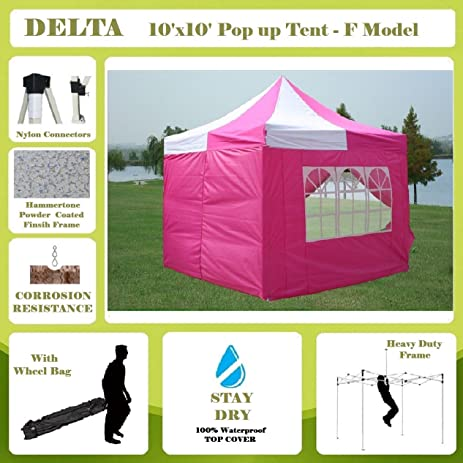 10u0027x10u0027 Pop up Canopy Wedding Party Tent Gazebo EZ Pink/White -  sc 1 st  Amazon.com & Amazon.com: 10u0027x10u0027 Pop up Canopy Wedding Party Tent Gazebo EZ ...