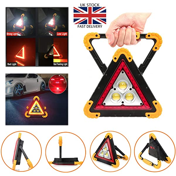 SiKy Car Hazard Warning Light Triangle Flashing LED COB Work Road Emergency Lamp Spotlight 4 Modes USB Rechargeable For Road Emergency