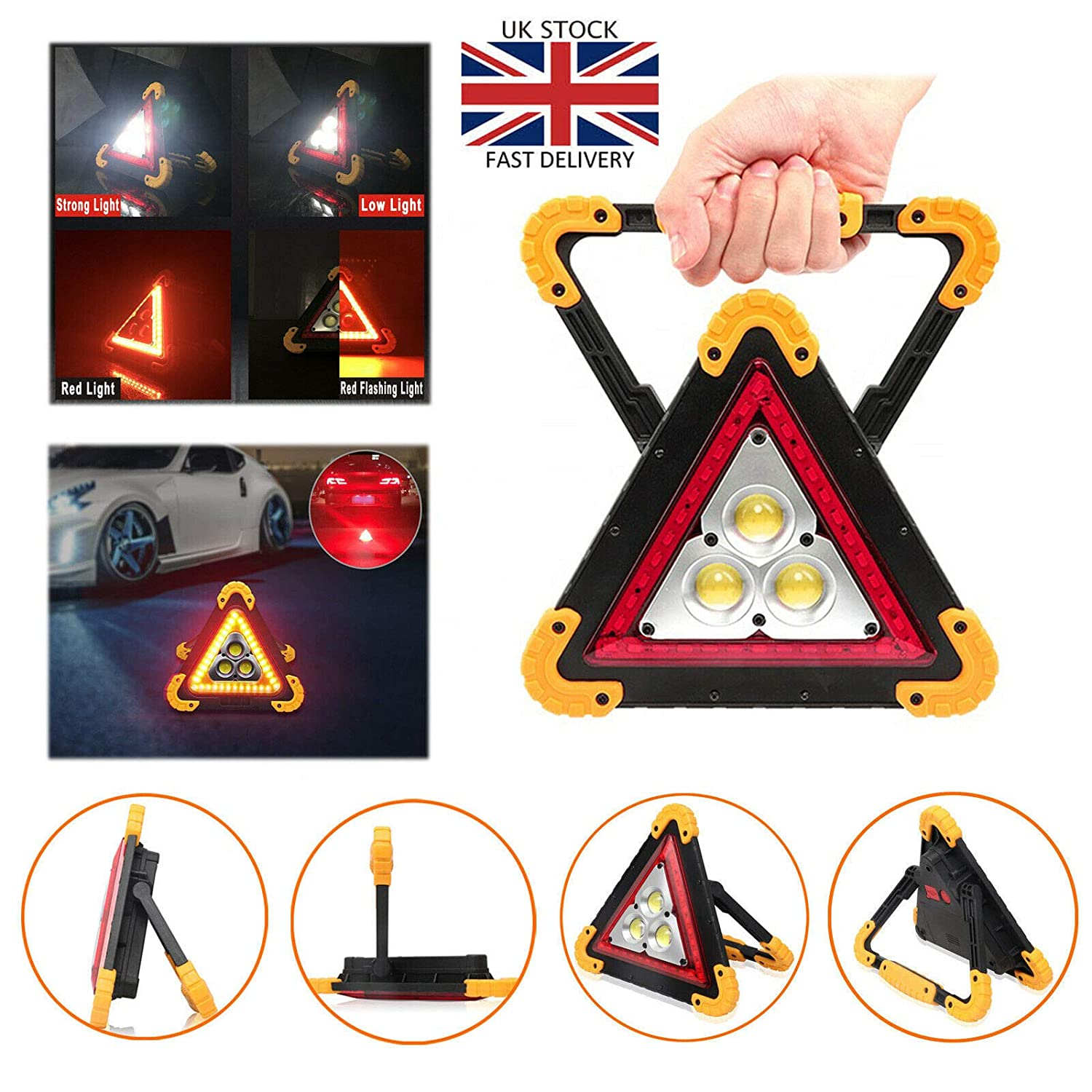 Magnetic Car GB Badge Large Reflective Warning Triangle Sign /& 2 Safety Vests