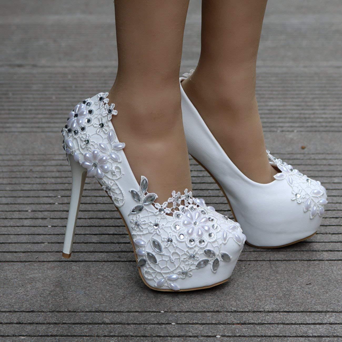 Qiusa Décolleté da da da Sera con Applicazioni Slip-on in Raso e Applicazioni per la Sposa (colore   bianca-14cm Heel, Dimensione   3 UK) aff7e9