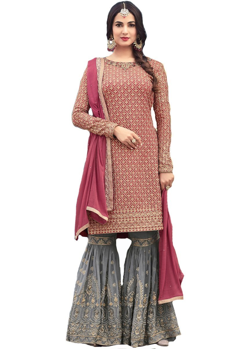 4e738253f6 ziya Ready Made Designer Indian Wear & Ethnic Wear Long Straight Salwar  Rose Pink Salwar Kameez 5501