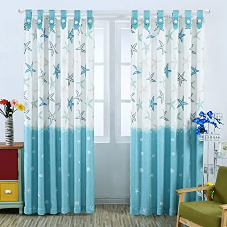 KINLO 1 Panel 145 x 245 cm Blackout Eyelet Curtains Polyester Blue Starfish  Opaque Curtain Thermal Insulated Curtain Window Treatment for Bedroom / ...