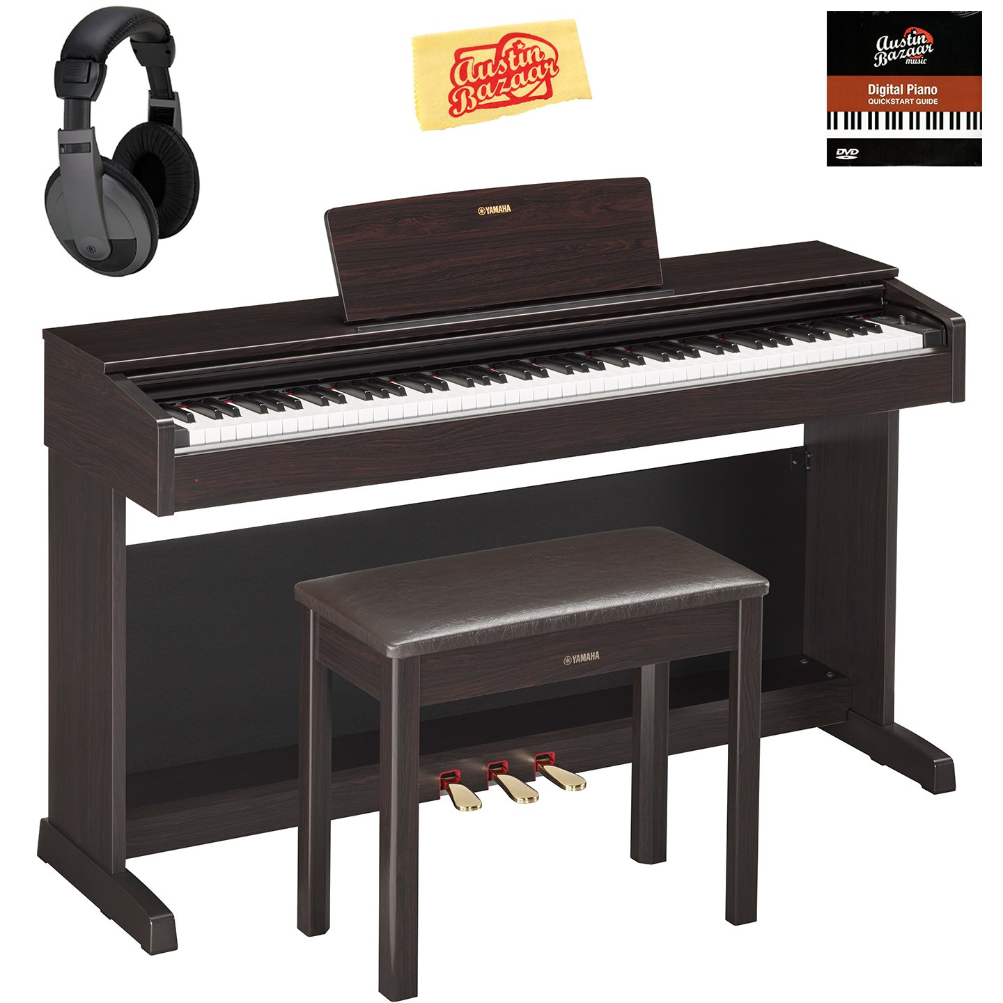 Yamaha YDP-143R Arius Console Digital Piano - Rosewood Bundle with Furniture Bench, Headphones, Austin Bazaar Instructional DVD, and Polishing Cloth