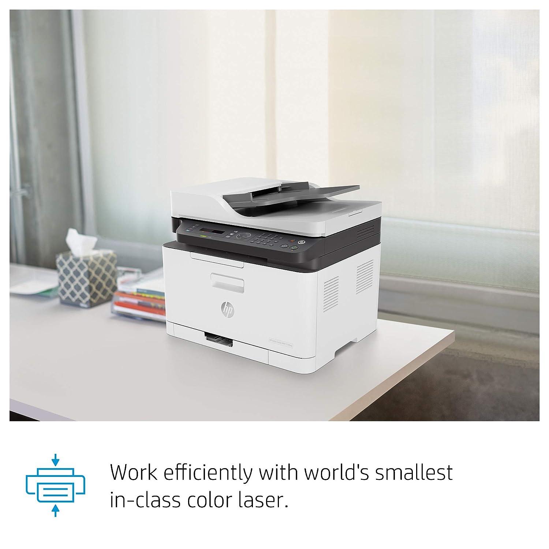HP Color Laser MFP 179fnw - Impresora multifunción (WiFi, imprima, copie, escanee y envíe por fax, 18/4 ppm, USB 2.0, Puerto de Red Fast Ethernet)