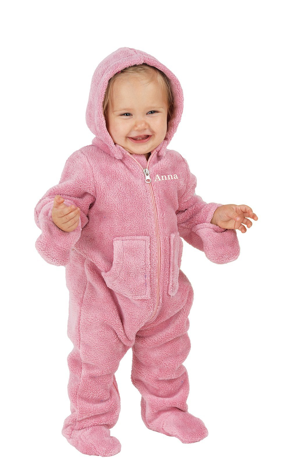 PajamaGram Hoodie-Footie Zip-Front Fleece Onesie Pajamas, Pink, 6 Months