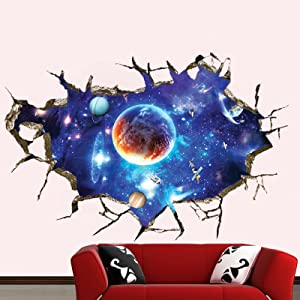 SENGTER Removable 3D Wall Art Planet Stickers Outer Space Room Decor Galaxy Wallpaper Astronaut Wall Decals Satellite Solar System Wall Mural Ceiling Stars Wall Decor for Bedroom Nursery