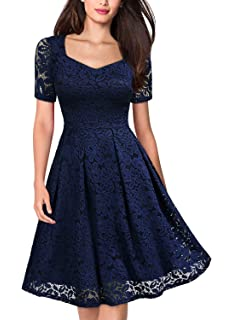 6c3584c028b0 MISSMAY Women's Vintage Floral Lace Short Sleeve V Neck Cocktail Party Swing  Dress