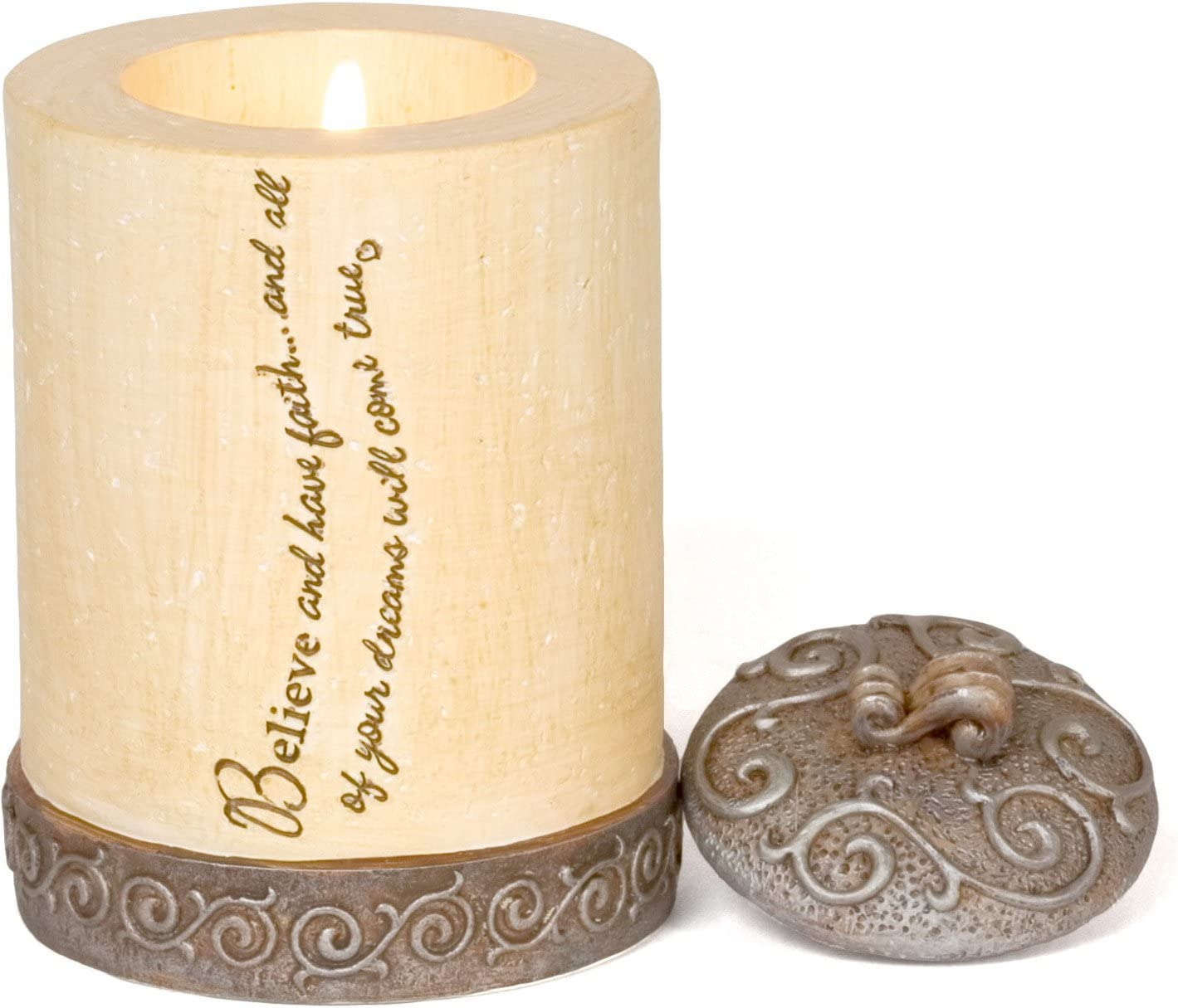 Comfort to Go by Pavilion Tea Light Candle Holder with Candle, Believe Sentiment, 4-Inch, Cylinder
